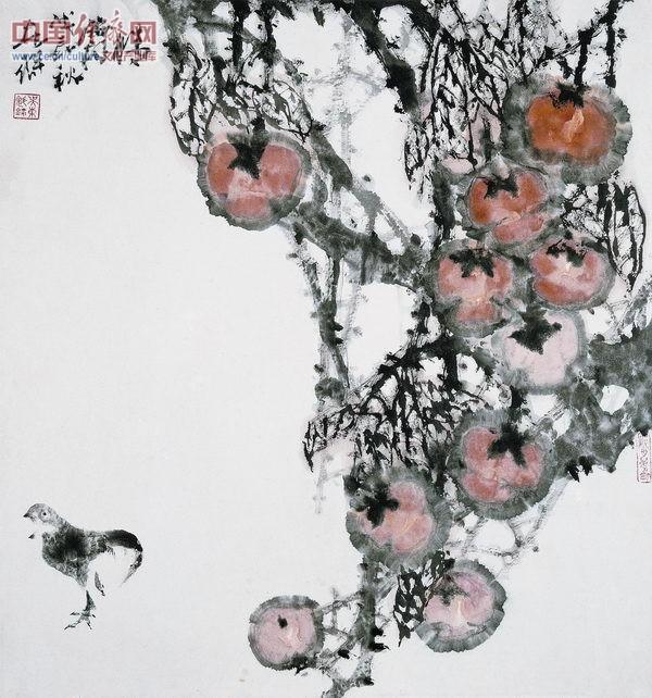 晴霜映红柿满山