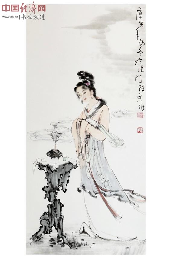 书画大师陈德浓赠送著名表演艺术家唐国强作品《貂蝉拜月》-陈德浓